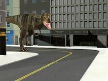 T Rex Dinosaur, Downton City Street Stock Photos
