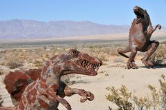 T-Rex Dinosaur Metal Sculpture at Anza Borrego Desert California. Dinosaur metal sculptures in the Anza Borrego Desert. Sculptures are public art displayed over royalty free stock photos