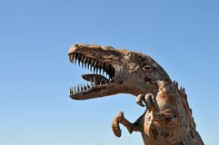 T-Rex Dinosaur Metal Sculpture at Anza Borrego Desert California. Dinosaur metal sculptures in the Anza Borrego Desert. Sculptures are public art displayed over stock images