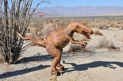 T-Rex Dinosaur Metal Sculpture at Anza Borrego Desert California. Dinosaur metal sculptures in the Anza Borrego Desert. Sculptures are public art displayed over stock photography
