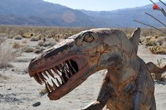 T-Rex Dinosaur Metal Sculpture at Anza Borrego Desert California. Dinosaur metal sculptures in the Anza Borrego Desert. Sculptures are public art displayed over royalty free stock photography