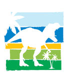 T-rex - dinosaur silhouette with palm trees. Stock Photo
