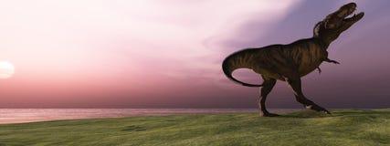 T-Rex en la salida del sol fotos de archivo