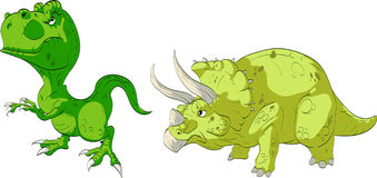 T-Rex en Triceratops Stock Afbeelding