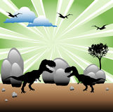 T-Rex fight. Abstract colorful illustration with tree, stones, clouds and two T-Rex dinosaur silhouettes ready for a fight Stock Photo