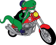 T-Rex on a motorcycle Stock Photos