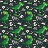 T Rex och illustration för Dino Bones Roar Seamless Pattern mörk bakgrundsvektor arkivbilder