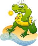 T-Rex que sumerge un dedo del pie en el agua Fotos de archivo