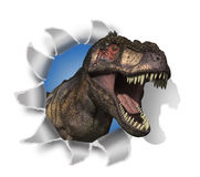 T-Rex Rips Through Your Document!. A Tyrannosaurus Rex pokes his head through your document - 3D render with digital painting Royalty Free Stock Photos