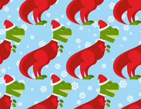 T-Rex Santa Claus seamless pattern. Christmas dinosaur backdrop. Stock Image