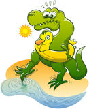 T-Rex som doppar en tå i vattnet Arkivfoton