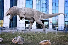 T-rex. SOSNOWIEC, POLAND - MARCH 9, 2015: T-rex statue at Faculty of Earth Science at University of Silesia in Sosnowiec. As of 2015 University of Silesia has royalty free stock photos