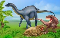 T Rex Triceratops und Diplodocus Stockfotos
