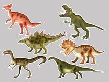T-REX, Tyrannosaur, Velociraptor, Triceratops, Brontosaurus, Pa vector illustratie