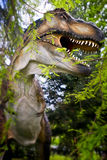 T-Rex Tyrannosaurus rex. Dinosaur model in the forest through Stock Images