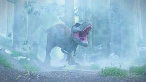 T rex, tyrannosaurus rex dinosaur walking through a foggy forest stock illustration