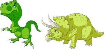 T-Rex und Triceratops Stockbild