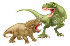 T Rex Versus Triceratops. Illustration with a tyrannosaurs rex attacking a triceratops dinosaur Stock Photo