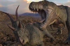 T-rex vs diabloceratops royaltyfri illustrationer