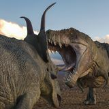 T-rex vs diabloceratops. Will put some fun at yours creations vector illustration