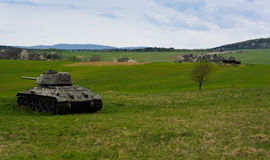 T34. Russian famous tank t34 in Death Valley in Slovakia Royalty Free Stock Photos