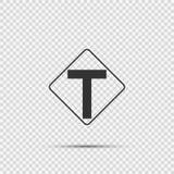 T-se forma el empalme del símbolo a continuación, la intersección principal muestra en fondo transparente stock de ilustración