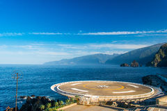 16t heliport. Seascape and a heliport. Business never stops. And emergency services. Conceptual Technology >> Transportation >> By Air royalty free stock photos