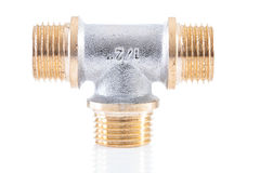 T-shape pipe connector isolated Stock Image
