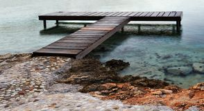 T-shaped wooden pier Stock Photo
