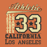 T-shir Kalifornien, ursprünglicher Sport, Collegesport, Weinlese T-shir Stockbilder