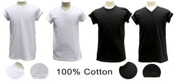 T-shirt 100% katoenen witte zwarte ronde V Stock Fotografie