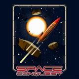 T-shirt of afficheillustratie Ruimte, sterren, asteroïden vector illustratie