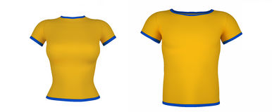 T-shirt amarelos no fundo branco Imagem de Stock