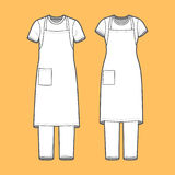 T-shirt, apron and pants set. Front view of mens and womens clothing set. Blank templates of t-shirt, pants and apron.  Casual style. Vector illustration on the Royalty Free Stock Photo