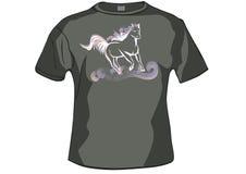 T-shirt, avant de chemise avec le cheval Image stock