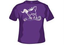 T-shirt, avant de chemise avec le cheval illustration stock
