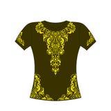 T-shirt avec l'ornement jaune Photo libre de droits