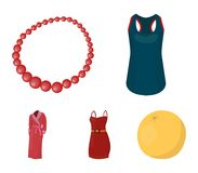 T-shirt, beads, summer women`s sarafan on straps with a belt, a home gown. Women`s clothing set collection icons in. Cartoon style vector symbol stock Royalty Free Stock Images