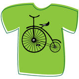 T-shirt with a bicycle on white Stock Image