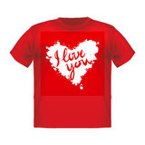 T-shirt with a big red heart and background vector Royalty Free Stock Photos