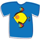 T-shirt with a bird on white Royalty Free Stock Photography