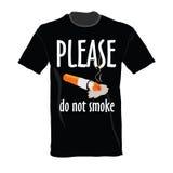 T-shirt in black color do not smoke Stock Photos