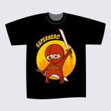 T-shirt Black Print Design Superhero Ninja Royalty Free Stock Photo