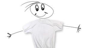 T-shirt blanc avec le visage et les bras Photos libres de droits