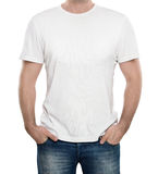 T-shirt blanc d'isolement sur le blanc Photographie stock