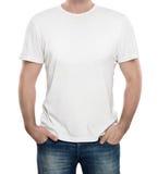 T-shirt blanc d'isolement sur le blanc photographie stock
