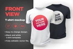 ` T-shirt blanc et noir de s d'hommes avec la maquette courte de douille Front View Photo libre de droits