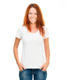 Fille dans le T-shirt blanc Photo stock