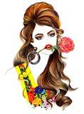 T-shirt bonitos do estilo da forma do jardim do coelho que imprimem o cabelo fantástico moderno do desenho Fotografia de Stock