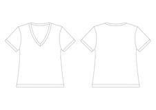 T-shirt branco da V-Garganta Foto de Stock